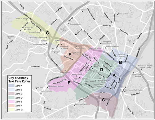 City of Albany Taxi zones