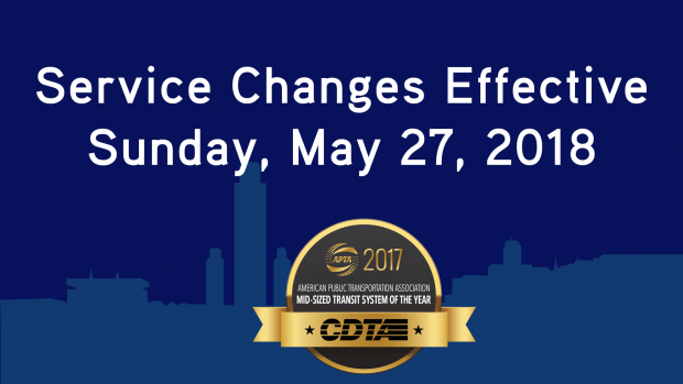 Service Changes Effective Sunday, May 27, 2018